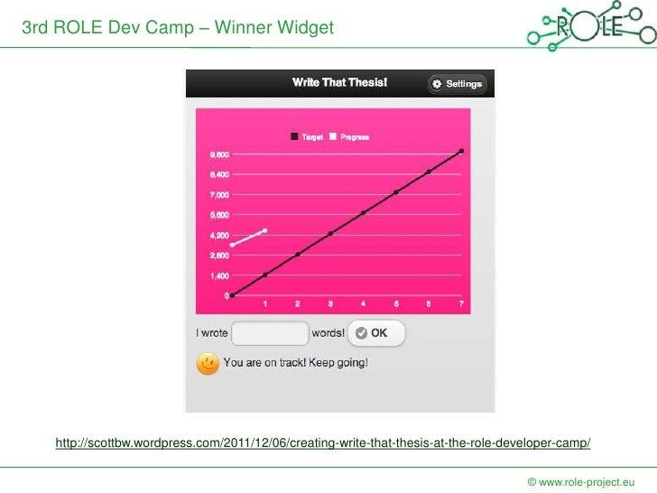 3rd ROLE Dev Camp – Winner Widget   http://scottbw.wordpress.com/2011/12/06/creating-write-that-thesis-at-the-role-develop...