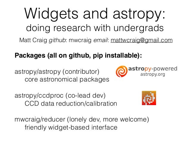Widgets and astropy: accomplishing useful research with