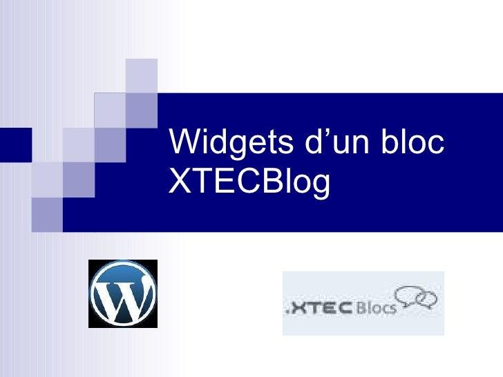 Widgets d'un bloc XTECBlog