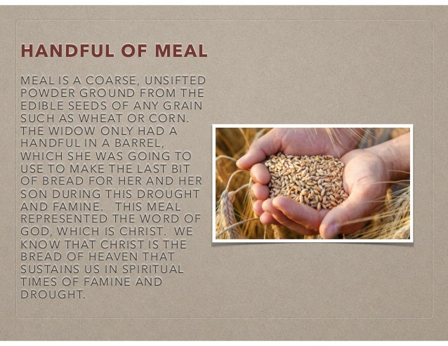 HANDFUL OF MEAL MEAL IS A COARSE, UNSIFTED POWDER GROUND FROM THE EDIBLE SEEDS OF ANY GRAIN SUCH AS WHEAT OR CORN. THE WID...