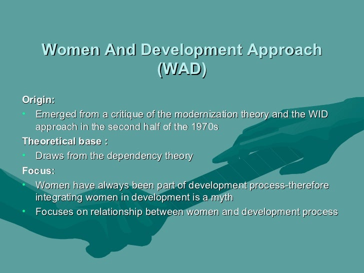 wid and gad This article addresses the shift in gender planning from women in development ( wid) to gender and development (gad), and explores why.