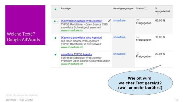 Welche Texte?Google AdWords                                         Wie oft wird                                    welche...