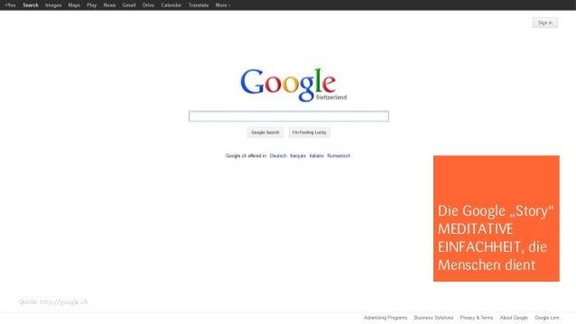 """Die Google """"Story""""                           MEDITATIVE                           EINFACHHEIT, die                        ..."""