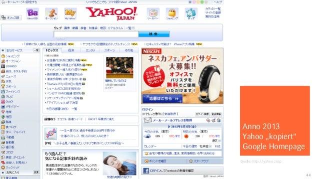 """Anno 2013                            Yahoo """"kopiert""""                            Google Homepage                           ..."""