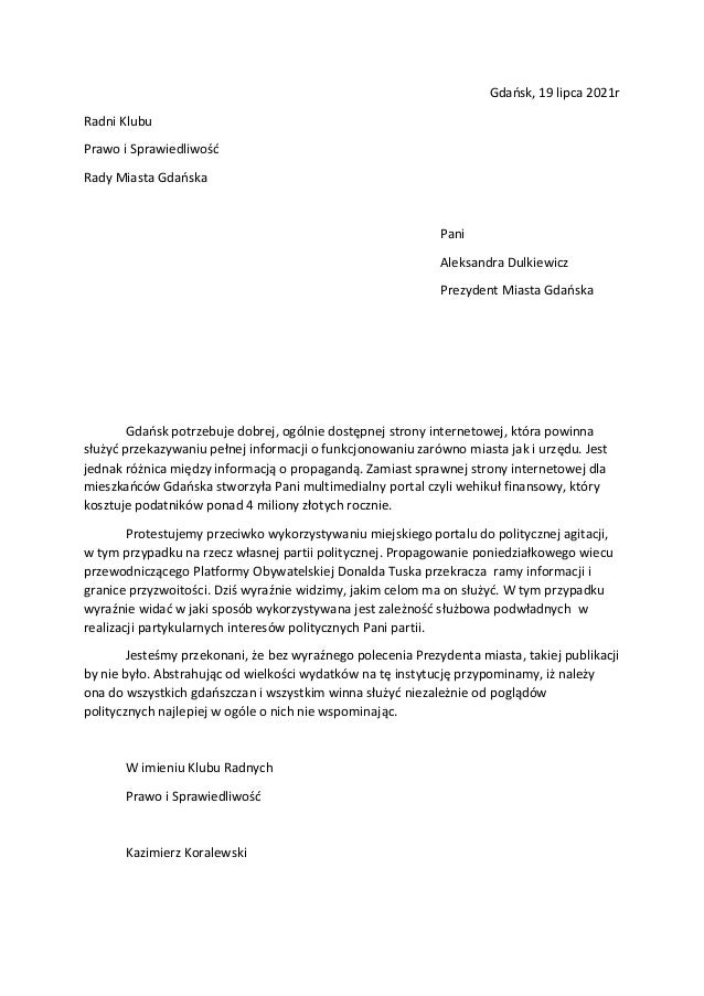 Gdańsk, 19 lipca 2021r Radni Klubu Prawo i Sprawiedliwość Rady Miasta Gdańska Pani Aleksandra Dulkiewicz Prezydent Miasta ...