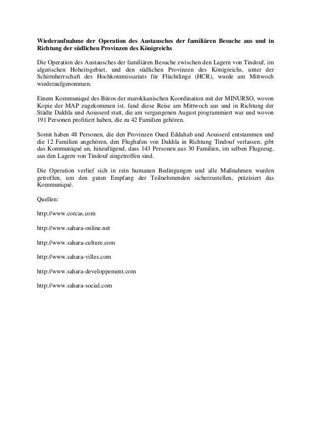 Wiederaufnahme der Operation des Austausches der familiären Besuche aus und in Richtung der südlichen Provinzen des Königr...