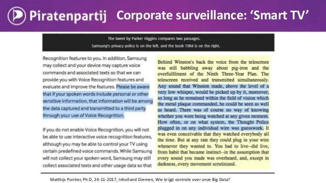 Corporate surveillance: 'Smart TV' Matthijs Pontier, Ph.D, 24-11-2017, Inholland Diemen, Wie krijgt controle over onze Big...