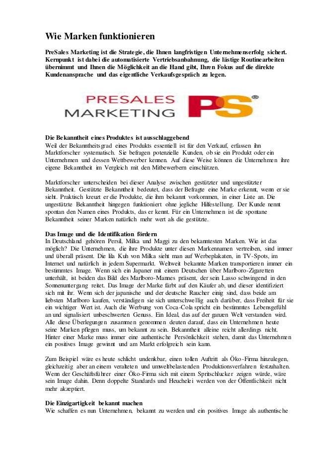 Wie Marken funktionieren PreSales Marketing ist die Strategie, die Ihnen langfristigen Unternehmenserfolg sichert. Kernpun...
