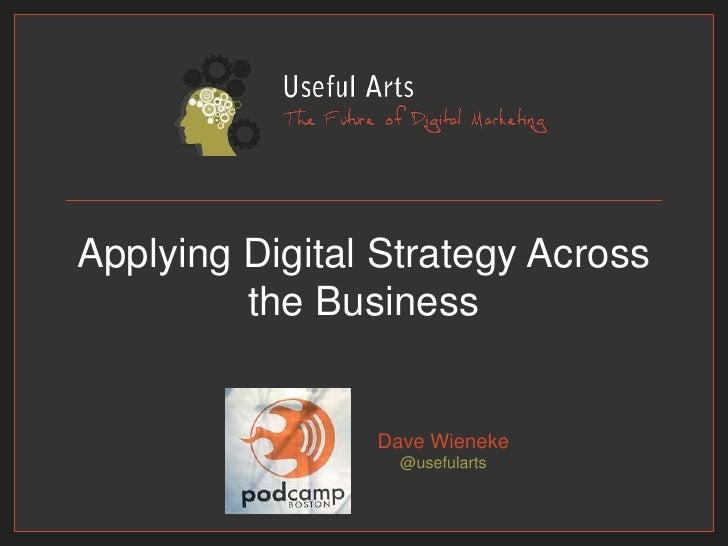 Applying Digital Strategy Across the Business<br />Dave Wieneke@usefularts<br />