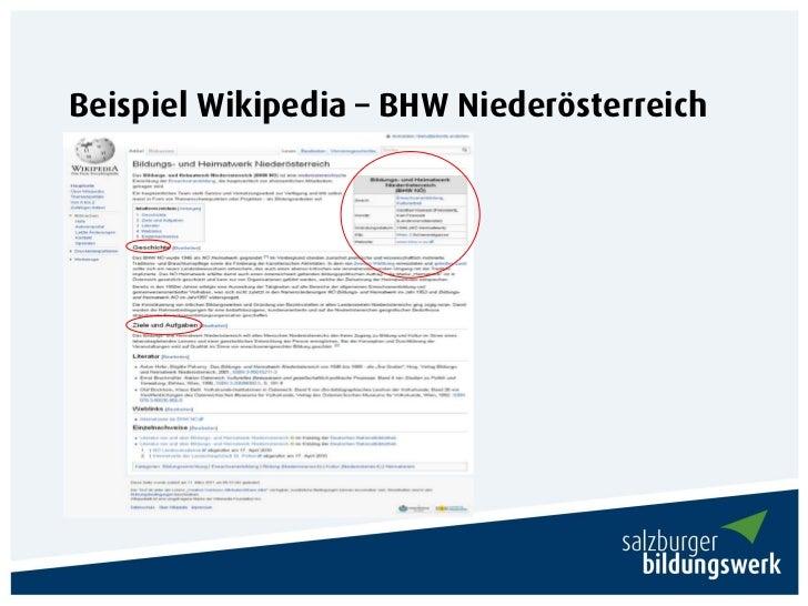 Beispiel Wikipedia – BHW Niederösterreich