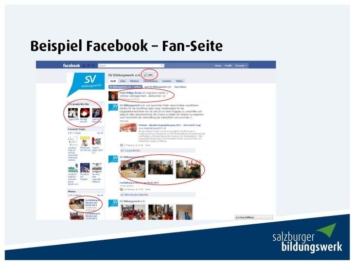 Beispiel Facebook – Fan-Seite