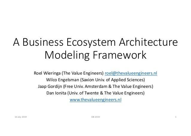 ABusinessEcosystemArchitecture ModelingFramework RoelWieringa(TheValueEngineers)roel@thevalueengineers.nl Wilco...