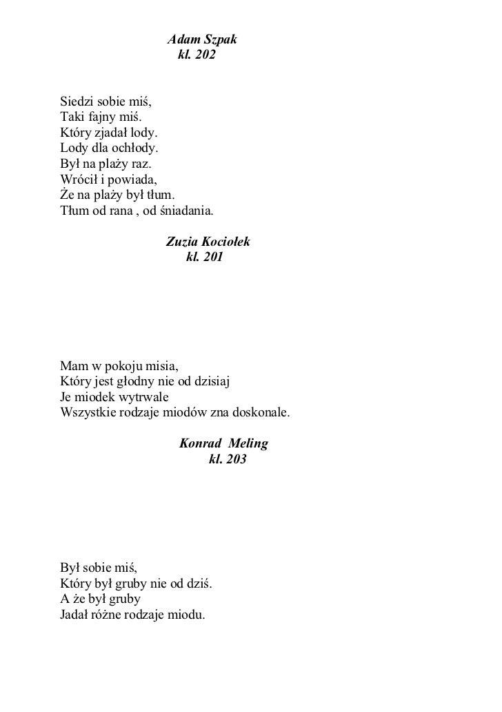 Wiersze O Misiu Autorstwa Uczniów Naszej Szkoły