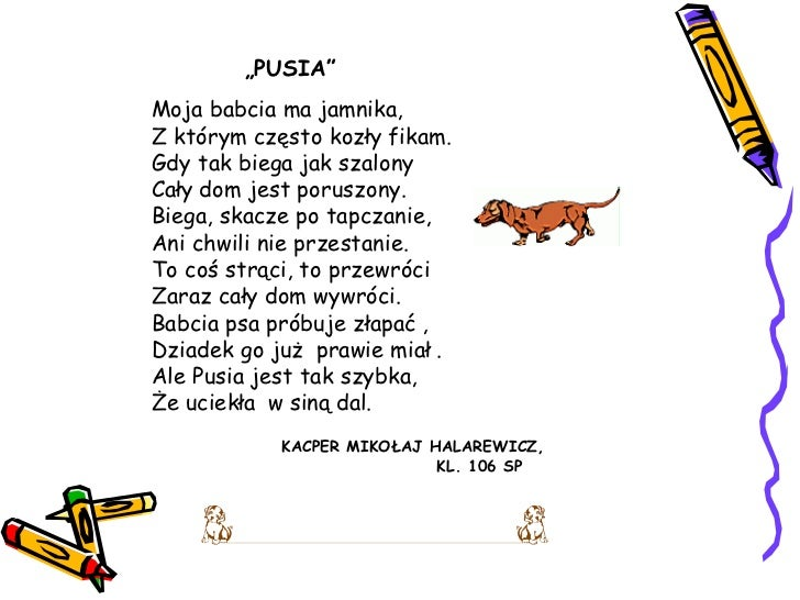 Wierszyki O Psach