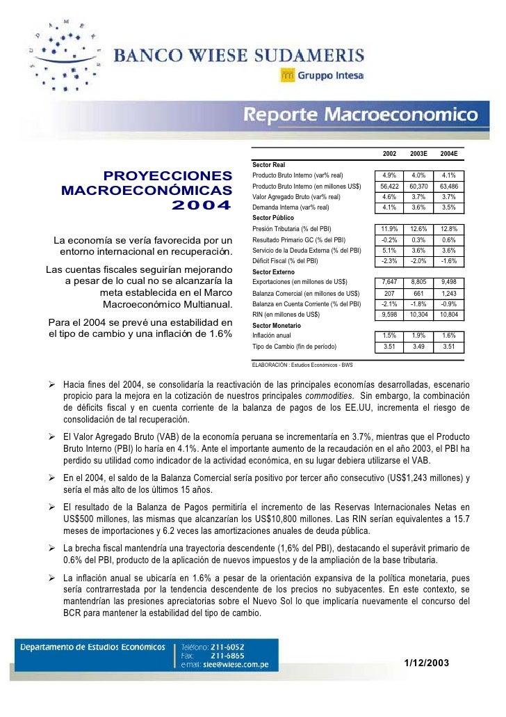 2002      2003E    2004E                                                      Sector Real       PROYECCIONES              ...