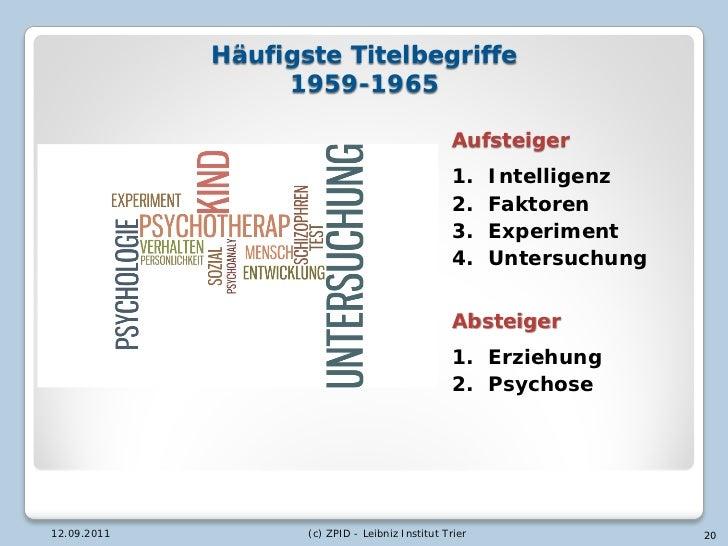 Häufigste Titelbegriffe                  1959-1965                                                 Aufsteiger             ...