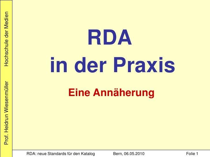 Hochschule der Medien                                                 RDA                                         in der P...