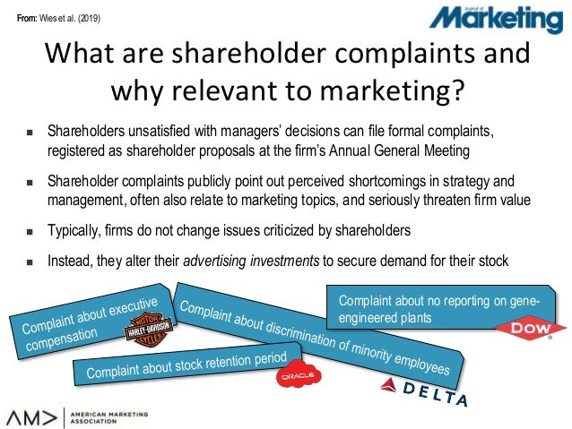 From:From:  Shareholders unsatisfied with managers' decisions can file formal complaints, registered as shareholder propo...