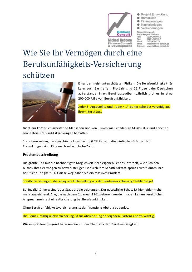 WieSieIhrVermögendurcheineBerufsunfähigkeits‐Versicherungschützen                                         Einesd...