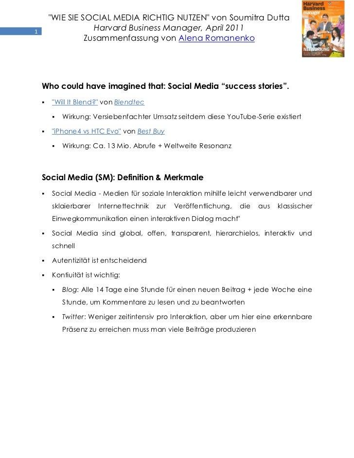 """""""WIE SIE SOCIAL MEDIA RICHTIG NUTZEN"""" von Soumitra Dutta1                   Harvard Business Manager, April 2011          ..."""