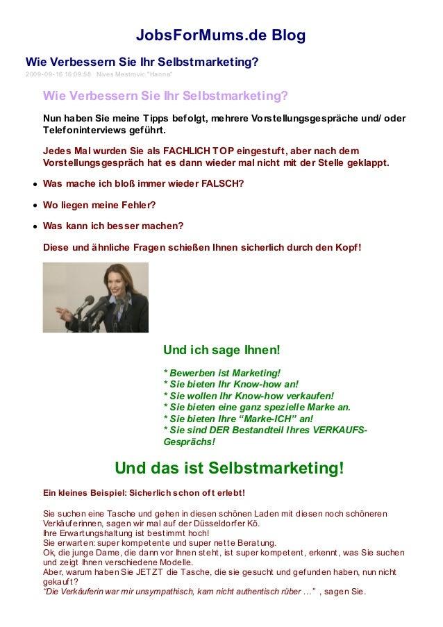 """JobsForMums.de Blog Wie Verbessern Sie Ihr Selbstmarketing? 2009-09-16 16:09:58 Nives Mestrovic """"Hanna"""" Wie Verbessern Sie..."""