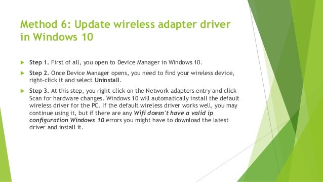 Wifi doesn't have a valid IP configuration in Windows 10