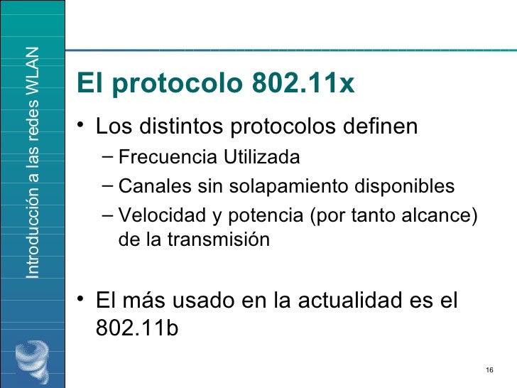 El protocolo 802.11x <ul><li>Los distintos protocolos definen </li></ul><ul><ul><li>Frecuencia Utilizada </li></ul></ul><u...