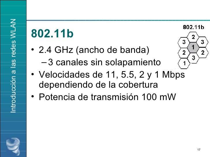 <ul><li>2.4 GHz (ancho de banda) </li></ul><ul><ul><li>3 canales sin solapamiento </li></ul></ul><ul><li>Velocidades de 11...