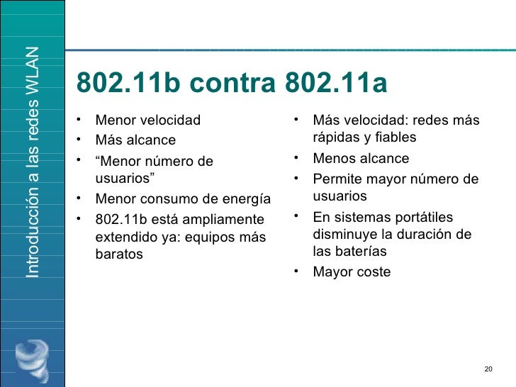 "802.11b contra 802.11a <ul><li>Menor velocidad </li></ul><ul><li>Más alcance </li></ul><ul><li>"" Menor número de usuarios""..."