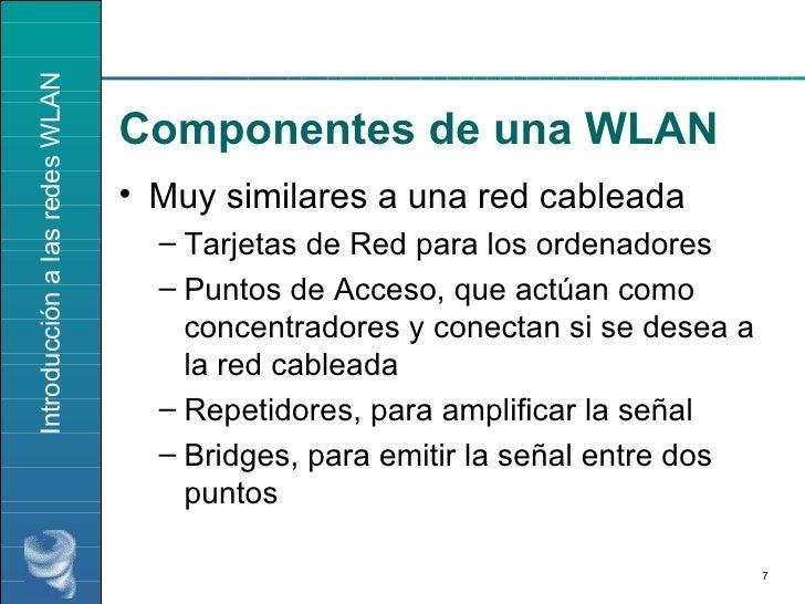 Componentes de una WLAN <ul><li>Muy similares a una red cableada </li></ul><ul><ul><li>Tarjetas de Red para los ordenadore...