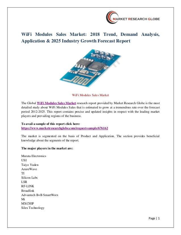 WiFi Modules Sales Market: 2018 Trend, Demand Analysis, Application …