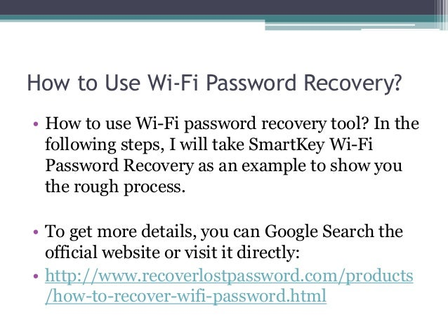 Wifi Password Recovery - Recover Lost or Forgotten Wi-Fi Password