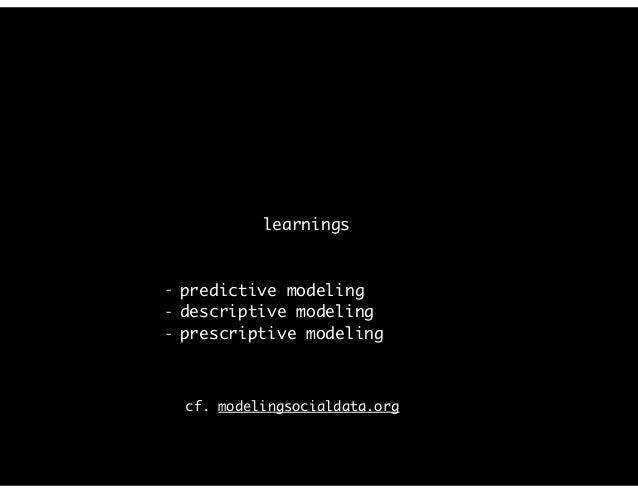 """predictive modeling, e.g., """"the funnel"""" cf. modelingsocialdata.org"""