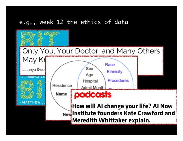e.g., week 12 the ethics of data history: Tuskegee -> Belmont