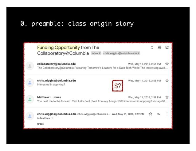 0. preamble: class origin story $?
