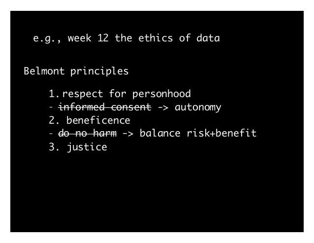 """e.g., week 12 the ethics of data 1. """"External Participation: early and regular engagement with all relevant stakeholders. ..."""
