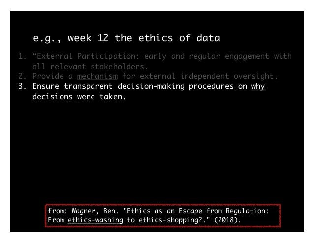 e.g., week 12 the ethics of data history: Tuskegee -> Belmont 1.articulate ethics as principles