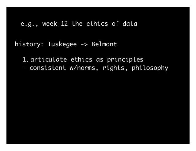 e.g., week 12 the ethics of data history: Tuskegee -> Belmont 1.articulate ethics as principles - consistent w/norms, righ...