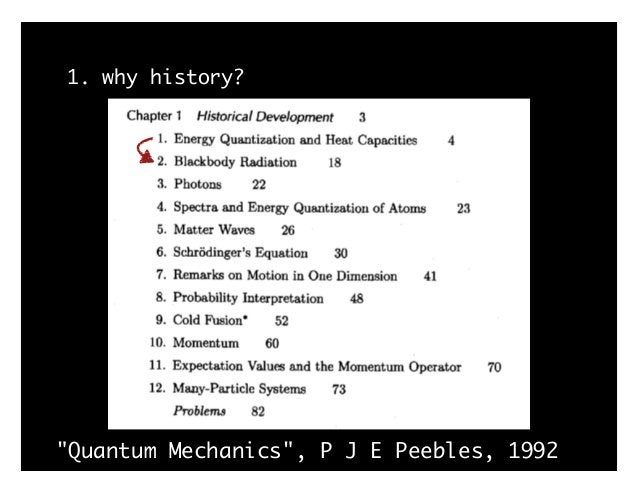 "1. why history? ""Quantum Mechanics"", P J E Peebles, 1992"