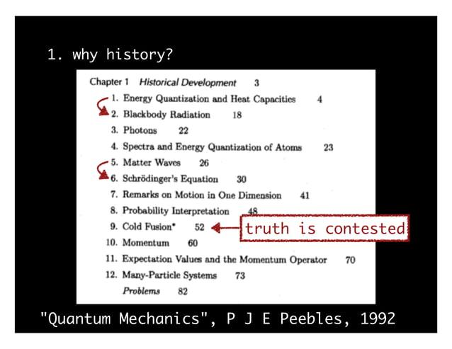 "1. why history? ""Quantum Mechanics"", P J E Peebles, 1992 truth is contested"