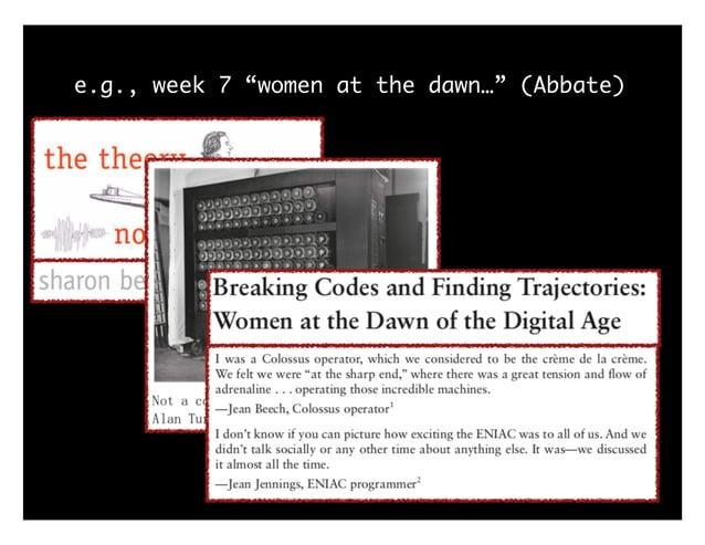 """e.g., week 7 """"women at the dawn…"""" (Abbate)"""