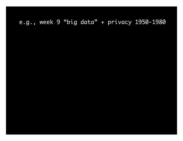 """e.g., week 9 """"big data"""" + privacy 1950-1980"""