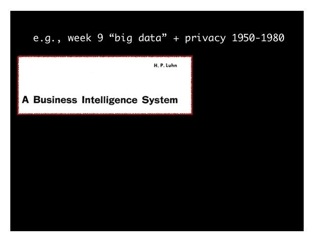 "e.g., week 9 ""big data"" + privacy 1950-1980 - 1967: FOIA - 1970: Social Security Number Task Force - 1970: Fair Credit Rep..."