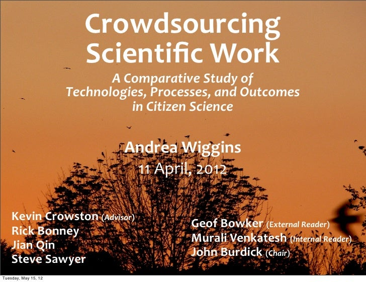 Crowdsourcing                           Scientific Work                             A Comparative Study of     ...