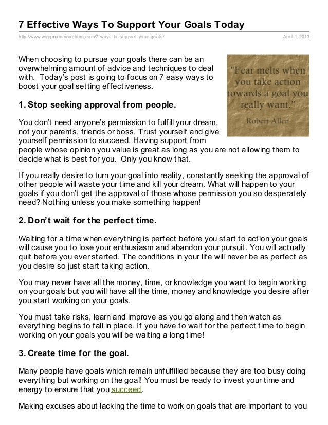 7 Effective Ways To Support Your Goals Todayhttp://www.wiggmanscoaching.com/7- ways- to- support- your- goals/            ...