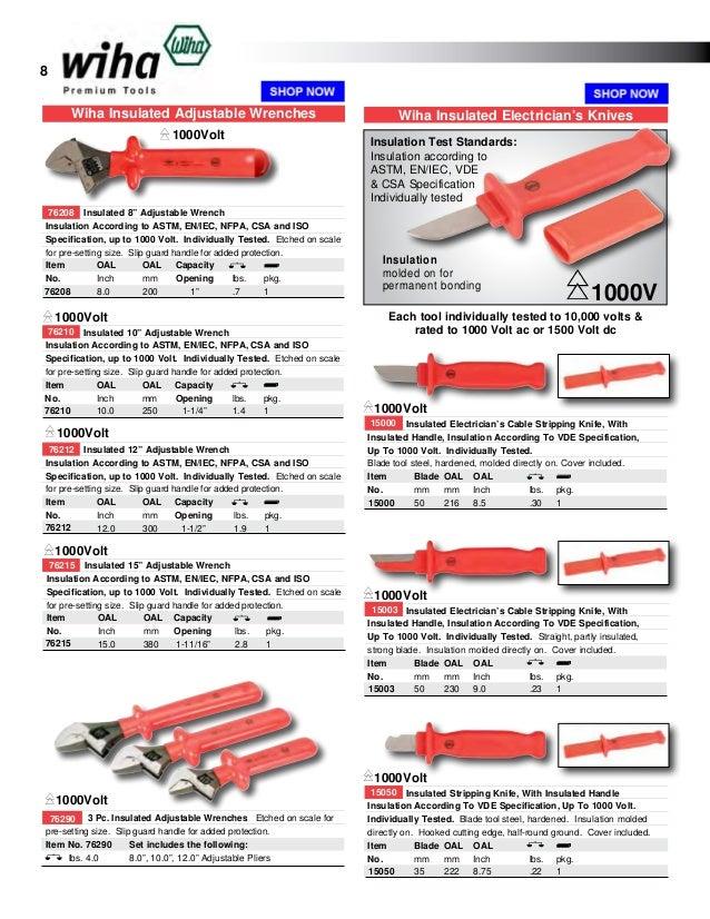 """8/"""" Wiha 76208 Insulated Adjustable Wrench"""