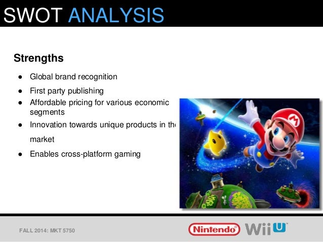 marketing analysis for nintendo Swot analysis nintendo nintendo started back in 1889 would you believe that the business started by making playing cards through the years, the company progressed into the manufacture of toys and games and then ultimately to the manufacture and what is marketing of electronic games.