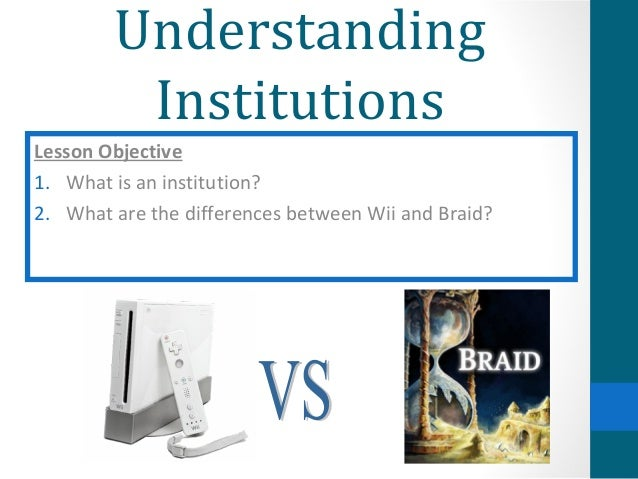 Understanding         InstitutionsLesson Objective1. What is an institution?2. What are the differences between Wii and Br...
