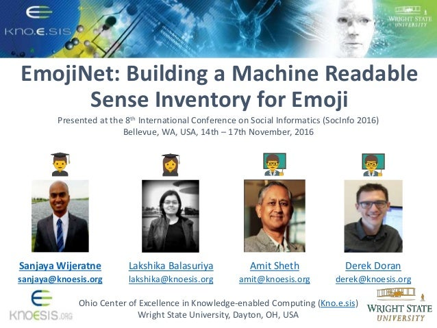EmojiNet: Building a Machine Readable Sense Inventory for Emoji Ohio Center of Excellence in Knowledge-enabled Computing (...