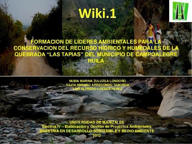 Proyecto: Nancy, Gladys y Lucho. FORMACION DE LÍDERES AMBIENTALES PARA LA CONSERVACION DEL RECURSO HÍDRICO Y HUMEDALES DE ...